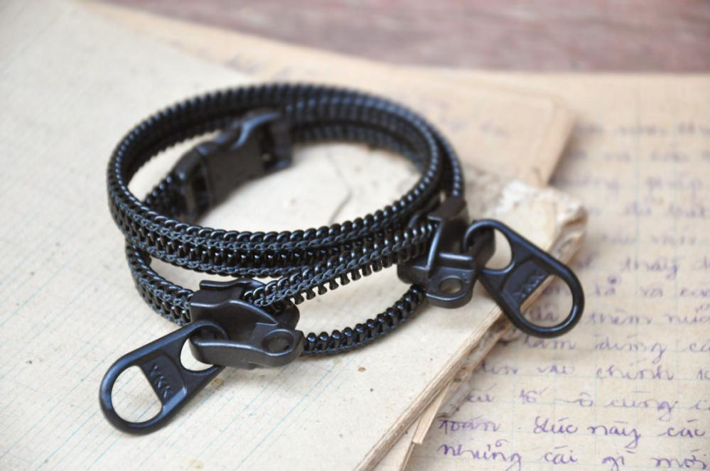 Mens bracelets, zipper jewelry, black wristband, industrial style, 2012 accessories.