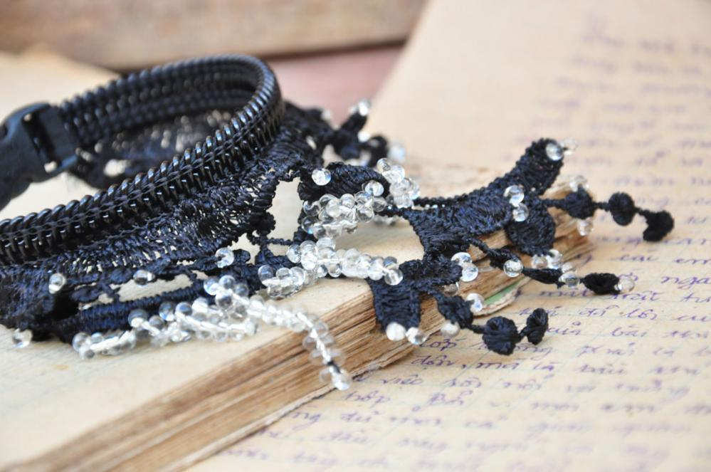 Black lace bracelet, feminine fashion cuff, - beaded.